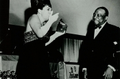"Katyna Ranieri receives the Golden Grammy Award from Count Basie for  Riz Ortolani for ""Best Instrumental Theme: MORE"""
