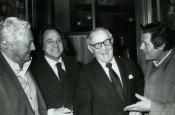Dino Risi, Riz Ortolani, Benny Goodman and Marcello Mastroianni