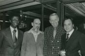 From right: Riz Ortolani, Stan Kenton and two Hollywood producers
