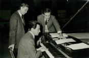 Franco Prosperi, Gualtiero Jacopetti and Riz Ortolani at the piano