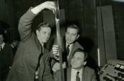 """Franco Prosperi, Gualtiero Jacopetti and Riz Ortolani look at frames of  """"Mondo Cane"""""""