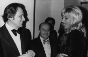 "Riz Ortolani and Monica Vitti at a showing of the movie ""Teresa la Ladra"" by Carlo Di Palma"