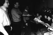 """Franco Zeffirelli e Riz Ortolani durante l'incisione di """"Fratello Sole Sorella Luna"""""""