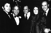 """Arthur Hamilton, John Green, Riz Ortolani, Henry Mancini e sua figlia, in occasione della nomination all' Oscar di """"Till love touches your life"""" Best Song"""